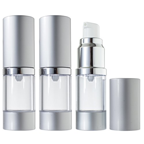 Airless Pump Bottle Refillable Travel Container - 10 ml / 0.34 oz (3 Pack)