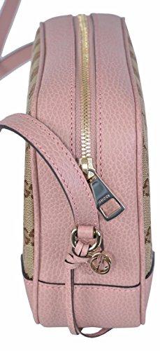 1312a00d61e Gucci Women s Beige Pink Canvas Leather GG Guccissima Bree Crossbody Purse