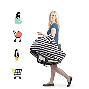Sayfunny Nursing Breastfreeding Cover Scarf - Baby Car Seat Canopy, Shopping Cart, Stroller, Carseat Covers for Girls and Boys - Best Multi Use Infinity Stretchy Shawl(Black)