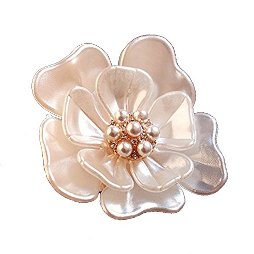 - SANWOOD Flower Camellia Rhinestone Faux Pearl Floral Bridal Brooch broaches Pin Scarf breastpin Jewelry