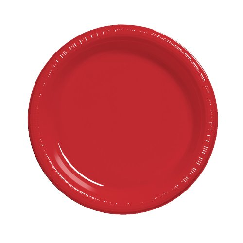 Creative Converting Touch of Color 20 Count Plastic Lunch Plates, Classic Red -