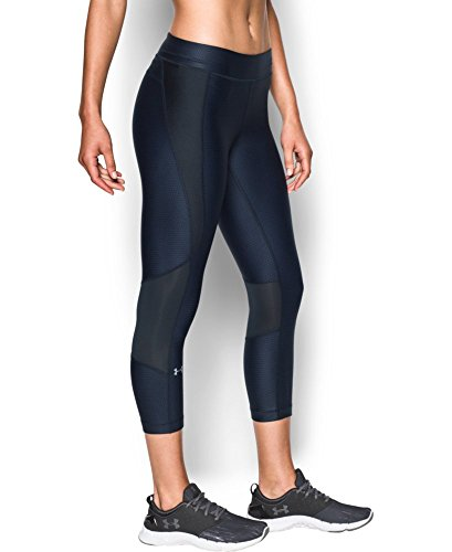 Under Armour Women's HeatGear Armour Printed Crop, Midnight Navy/Black, Small