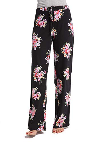 CYZ Women's Casual Stretch Cotton Pajama Pants Simple Lounge Pants-FloralPrint-L