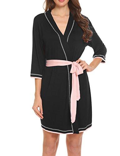 Ekouaer Womens Robe Kimono Knit Cotton Light Short Bridesmaids Spa Bathrobe(Black - Belt Attached