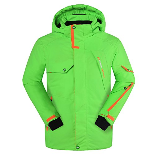 PHIBEE Big Boy's Waterproof Breathable Snowboard Ski Jacket Green 8 ()