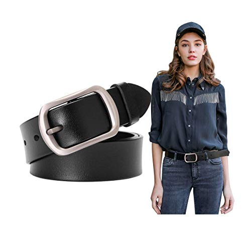 Genuine Black Leather Belts For Women With Pin Buckle Women Vintage Retro Bull Leather Belts For Jeans Pants Dress Ladies Waist Belt