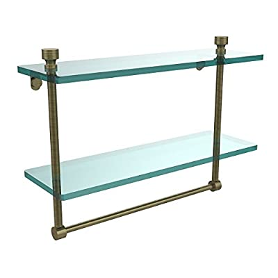 Allied Brass Foxtrot 16 in. 2 Tiered Glass Shelf with Integrated Towel Bar