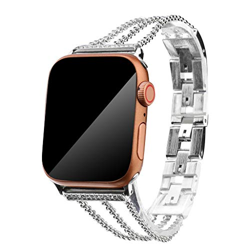 Tpingfe Wristband Strap Cuff Bangle Bracelet Replaceable for Apple Watch 4/3/2/1 42/44mm (Silver)