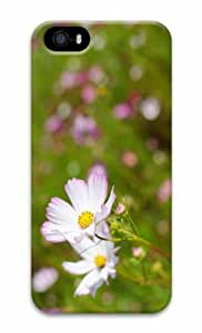 iPhone 5 3D Hard Case White Cosmos Flower With Pink Edges