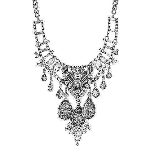 (Manerson BohemianStatement Necklace Vintage IndianBib Collar Necklace Jewelry for Women Silver)