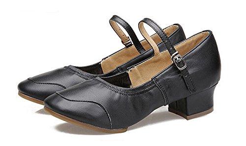 Botas De Mujer Leahter Jazz Botas Latin Salsa Rumba Chacha Practice Dance Zapatos Black