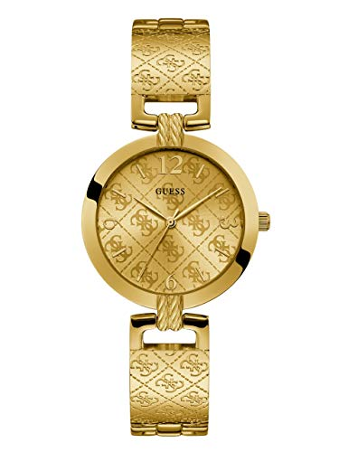 - GUESS  Gold-Tone Stainless Steel Logo Bracelet Bangle Watch with Self-Adjustable Links. Color: Gold-Tone (Model: U1228L2)
