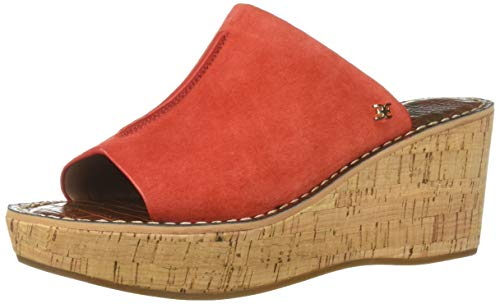 Sam Edelman Women's Ranger Heeled Sandal, Candy red Suede, 8 M US ()