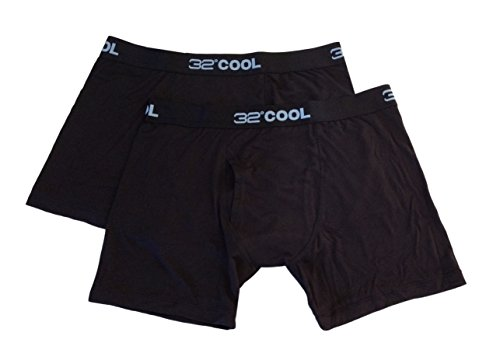 32 Degrees Cool - Weatherproof Men's Boxer Briefs - 2 Pack (Large, Black/ Black) (Ohio Machine)