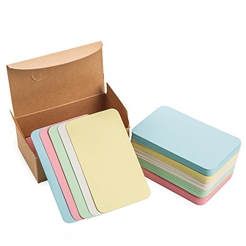(ZOOYOO Blank Colour Cardboard paper Message Card Business Cards Word Card DIY Tag Gift Card About 100pcs)