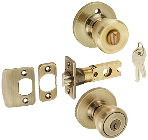 Brass Antique Finished Lever Door - Design House 728345 Terrace 6-Way Universal Entry Door Knob, Antique Brass, 1,