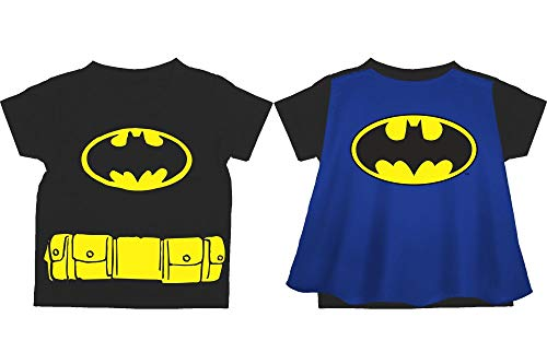DC Comics Toddler Batman Shirt Toddler Superhero Shirt Batman Cape Tee Batman Cape Shirt-13-5T Black