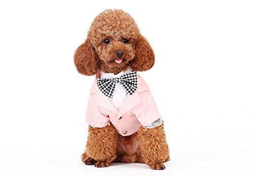 S-Lifeeling Fashion Plaid Bowknot Dog Clothes Gentleman Comfortable Design Pet Costumes Spring Summer Teddy Pet Suit for $<!--$16.99-->