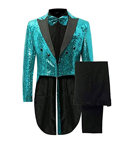 Botong Men's Notch Lapel Teal Sequins Tailcoat 2 Pieces Nightclub Suit Wedding Prom Tuxedos Teal 36 Chest / 30 Waist