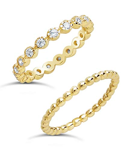 Sterling Forever Gold Vermeil Sterling Silver Bezel Set with Cubic Zirconia & Beaded Band Stack-able Rings (Set of 2) (9)