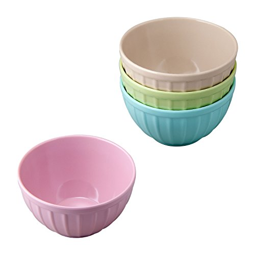 Gourmet Art 4-Piece Ribbed Shaped Melamine 4.75 Inch Ice Cream Bowls, Ideal for Ice Cream, Dessert, Snack, Candy, Fruits and -