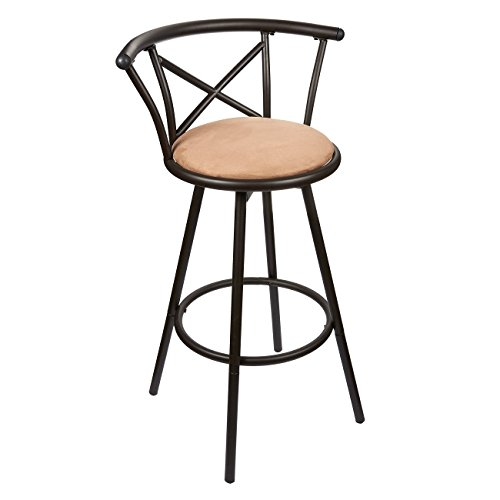 Juvale Bar Stool - Padded Barstool - Powder Coated Stainless Steel Kitchen Stool with Cushioned Seat, Brown (Cheap Stools Breakfast Bar)
