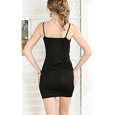 Zevrez Women's Basic Sexy Seamless Camisole Stretchy Spaghetti Strap Slip Mini Dress at Women's Clothing store