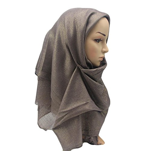 - General3 Muslim Women Glittering Ramadan Shawl Scarf Head Cover Headscarf Muffler (Coffee)