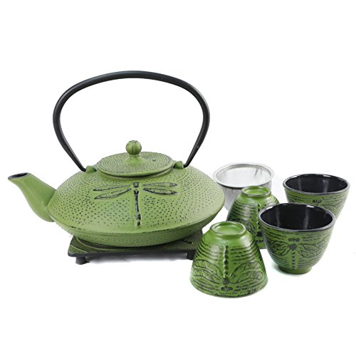 Dragonfly Teapot - Cuisiland Dragonfly Cast Iron Teapot Set with 4 Cups 37oz Green