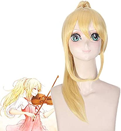 Pelucas de anime Tu mentira en abril Miyazono Kaori Largo recto Oro Rubio Clip Cola de caballo Peluca sintética Disfraz de Cosplay para Halloween