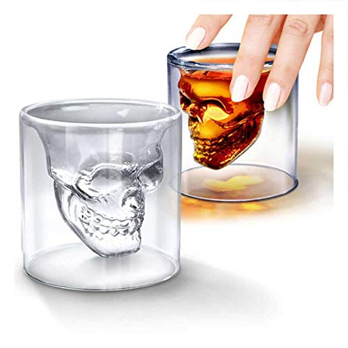 2PCS Creative Designer Skull Shot Glass Beer Glass