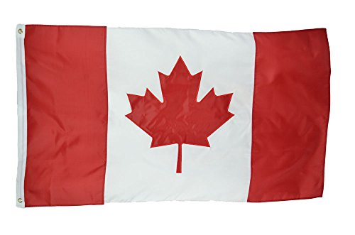 Canada Nylon - Shop72 Canada Flag Embroidered Sewn Stripes Sturdy 201D Oxford Nylon Country Flags - World Flag - Canvas Header Brass Grommets Double Stitched from Wi