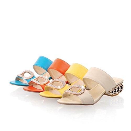 Sexy Vestir Verano el Dedo de Casuales de pie Moda del Abierto Talón Mujeres Zapatos Diapositivas de Las en Azul Sandalias Tacón ZAU4qYY7n