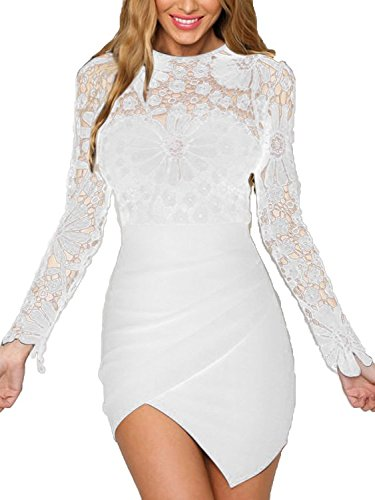 YOINS Women Dress Sexy Bodycon Crochet Lace Wrap Front Long Sleeves Mini Dress White (Lace Cut Out Dress)