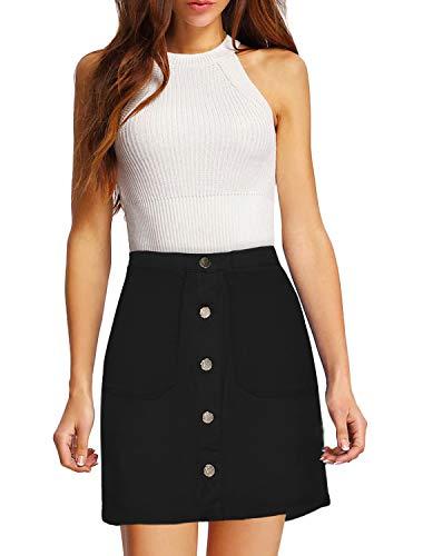 Lexi Womens Pull on Stretch Denim Skirt SKS48012 Black 16