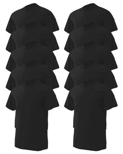 Gildan Men's Wicks Moisture T-Shirt, Black, Large. (Pack of 10) (10 Black T-shirt)