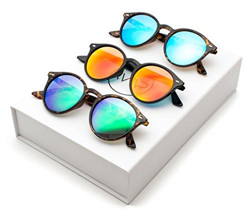 WearMe Pro Classic Small Round Retro Sunglasses, Box: Mirror Green / Mirror Blue / Mirror - Sunglasses Combo