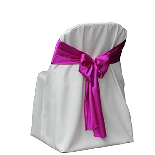 SPRINGROSE White Polyester Standard Folding Wedding Chair Covers (set of 10). These Are Made For Standard Metal and Plastic Folding ()