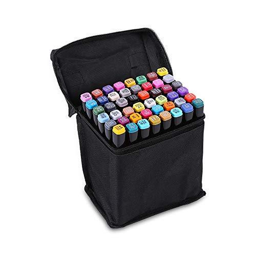 Conjunto de marcadores artísticos a base de alcohol 48 rotuladores gemelos con doble punta de 48 colores con estuche negro