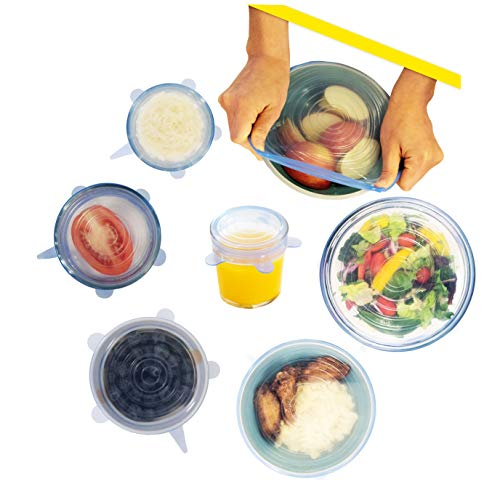 Silicone Wrap Stretch & Seal Covers [Durable BPA-Free Reusable Microwave-safe Flex Lids] Expandable Universal Spill-proof Fit Small & Large Bowl, Food Saver, Storage Container, Pan, Jar (6 Pack Set)