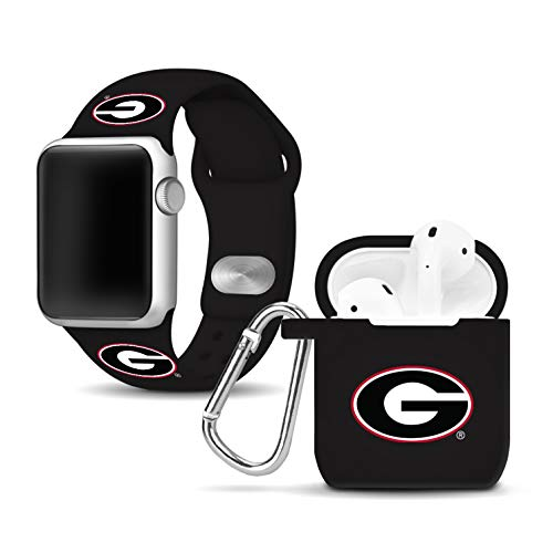 Affinity Bands Georgia Bulldogs Silicone Watch Band and Case Cover Combo Compatible with Apple Watch and AirPod Case
