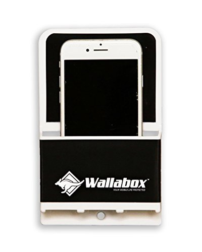 Wallabox (Midnight Black) - Universal Cell Phone Holders, Wall Mount - Fits All iPhone & Android Phones. Great for Bedroom, Bathroom, Office, Car, Charging Station. 3M Removable Non-Damaging Strips