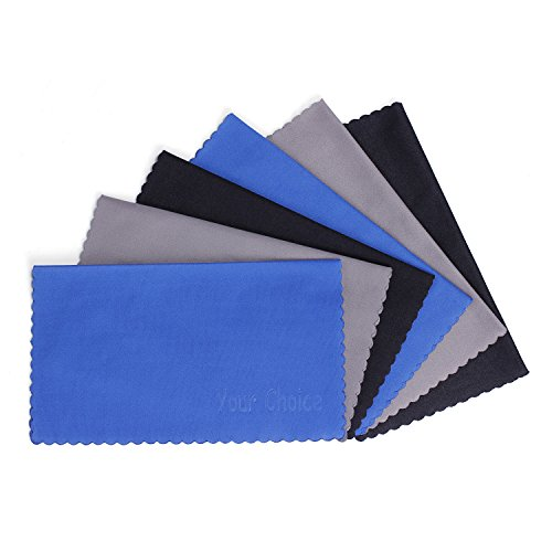 6 Pack Your Choice Microfiber Cleaning Cloths for Eyeglasses,Camera Lens, Cell Phones, CD or DVD, Computers, Tablets, Laptops, Telescope, LCD Screens and Other Delicate Surfaces (6x7 Inch, 2 Grey, 2 Black, 2 Blue)