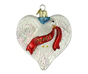 Old World Christmas Peace Dove Heart Glass Blown Ornament