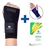 Wrist Brace & Hand Support + Wrist Support Sleeve for Carpal Tunnel, Arthritis, Wrist Pain Relief. Wrist Splint has Removable Stainless Steel Support & 2 Adjustable Fasteners for Custom Fit (Right)