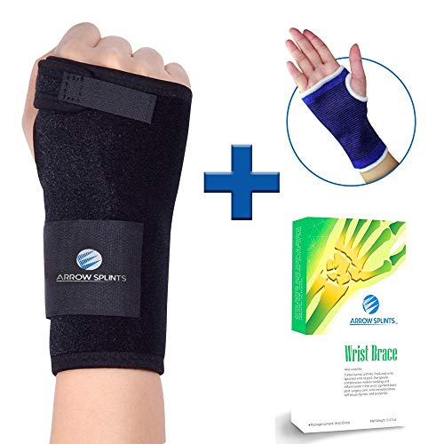Wrist Brace & Hand Support + Wrist Support Sleeve for Carpal Tunnel, Arthritis, Wrist Pain Relief. Wrist Splint has Removable Stainless Steel Support & 2 Adjustable Fasteners for Custom Fit (Right) by Arrow Splints