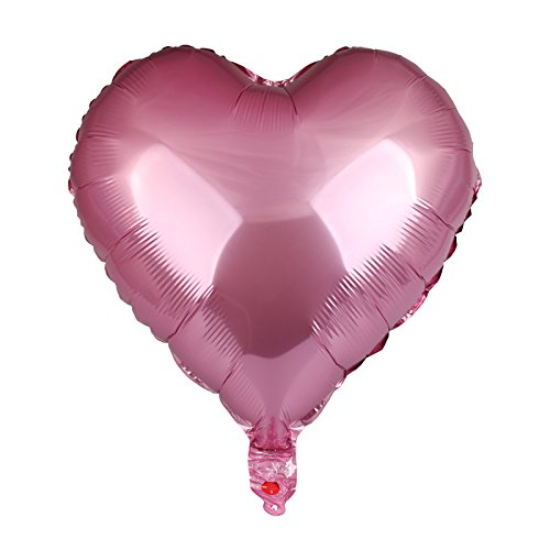 vLoveLife 10pcs Pink Heart Shape Metallic Color Foil Balloons Foil Helium Balloon 18