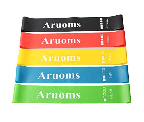 Aruoms Resistance Loop Exercise Bands Stretch Workout Physical Therapy Home Fitness Bands, Set of 5