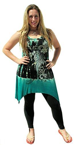 Stunning Sexy Vocal Tunic Tank Dress TOP Black Jade Green Fleur DE LIS S M L XL (Medium: 32-38 inch Bust)