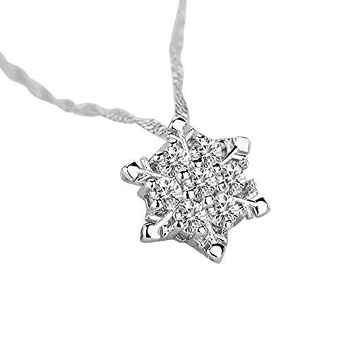(1PC Chic Snowflake Pendant Rhinestone Crystal Party Elegant Necklace)